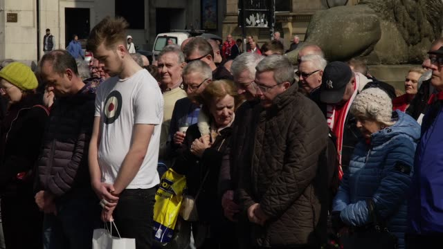 one minute silence outside st george's hall liverpool to commemorate the 96 victims of the hillsborough disaster - hillsborough disaster stock videos and b-roll footage