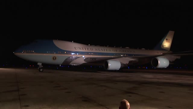 One minute VO/SOT of footage of President Trump's arrival in Pensacola FL last Friday
