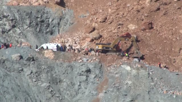 One more worker's body is pulled from the wreckage during rescue operation after a copper mine collapsed in Turkey's southeastern province of Siirt...