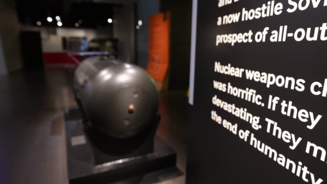 "one of five original casings made for the ""little boy"" atomic bomb is seen on display, following the first showing of a commissioned video... - nuclear bomb stock videos & royalty-free footage"