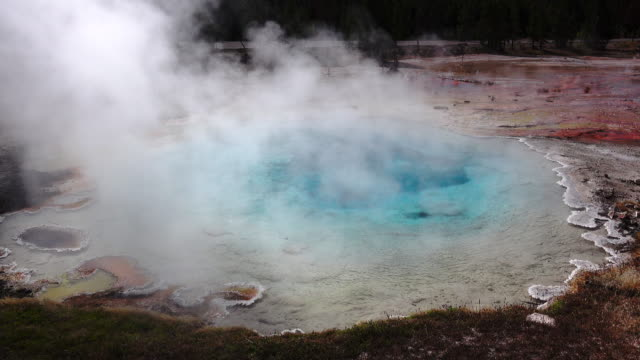 one of geyser in yellow stone park. - steam stock videos & royalty-free footage