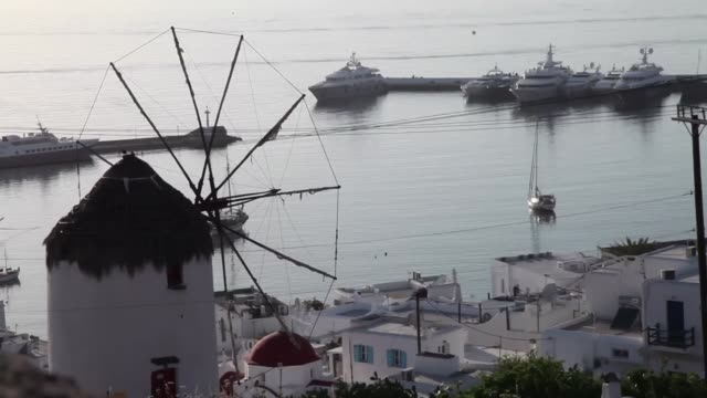 one of greece's most famous travel destinations awaits for tourists to arrive after a 3month lockdown usually bursting with visitors this time of the... - mykonos stock videos & royalty-free footage