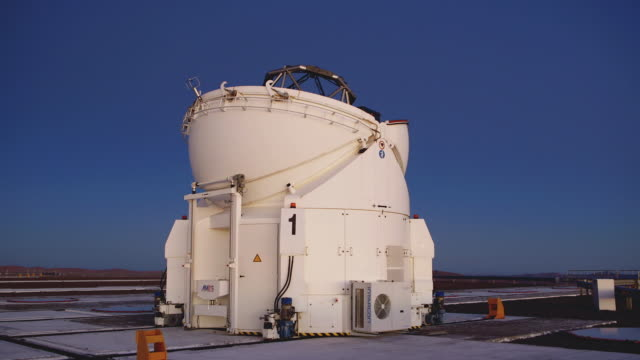 t/l, ms one of the auxiliary telescopes opening at paranal observatory / chile - astronomy telescope stock videos and b-roll footage