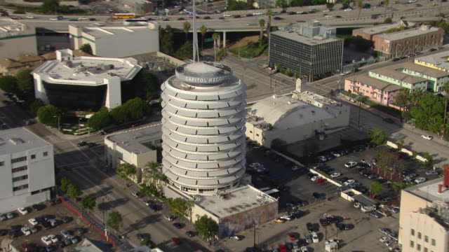 One of the landmarks of Los Angeles, the Capitol Records Building. The circular building is located in the Hollywood Entertainment District.