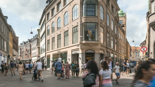 tl:  one of the market streets on a central square in copenhagen, denmark - copenhagen stock videos & royalty-free footage
