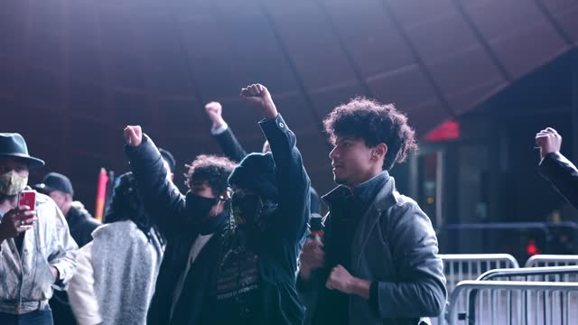 """one of the organizers of """"the fight for black liberation continues"""" march speaks the names of recently killed black individuals and victims of police... - identity stock videos & royalty-free footage"""