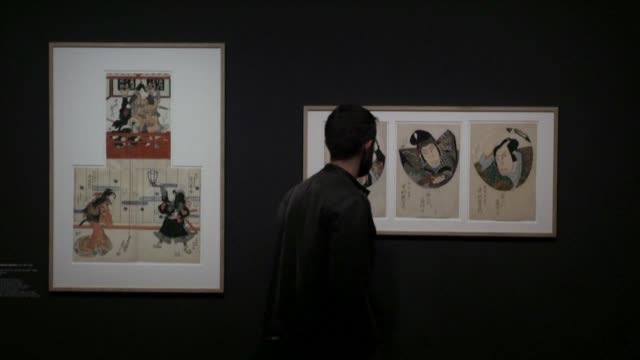 vídeos de stock, filmes e b-roll de one of the worlds largest private collections of japanese prints including major works of artists hiroshige and hokusai has gone on public display... - aix en provence