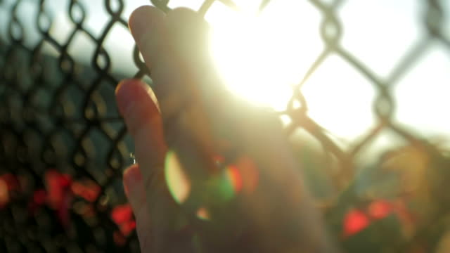 one person hand on fence walking slow motion - b roll stock videos & royalty-free footage