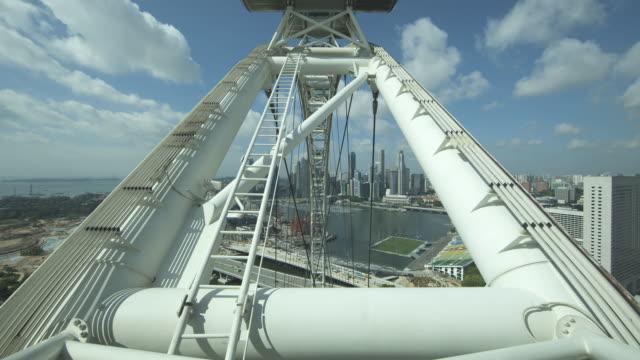 WS POV T/L One revolution on 'Singapore Flyer' ferries wheel in Singapore / Singapore, Singapore City.