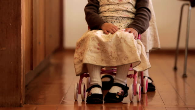 one twin pushes her sister in a stroller. - disability stock videos and b-roll footage