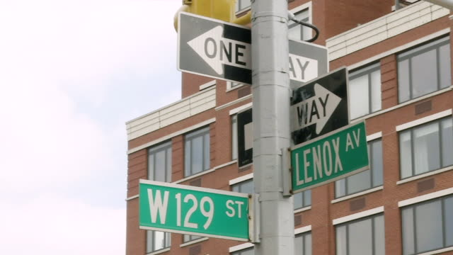 MS PAN One way signs and Lenox Av and W 129 St signs / New York, United States