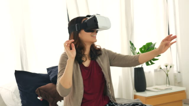 one woman using vr