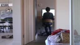One woman Working From Home Quarantine corona virus