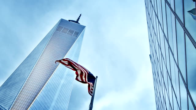 one world trade center - flag blowing in the wind stock videos & royalty-free footage