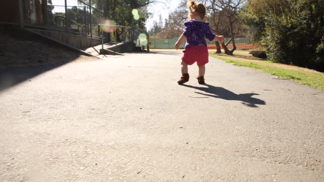 a one year old baby girl learning to walk outdoors in a park on a sunny day. - primi passi video stock e b–roll