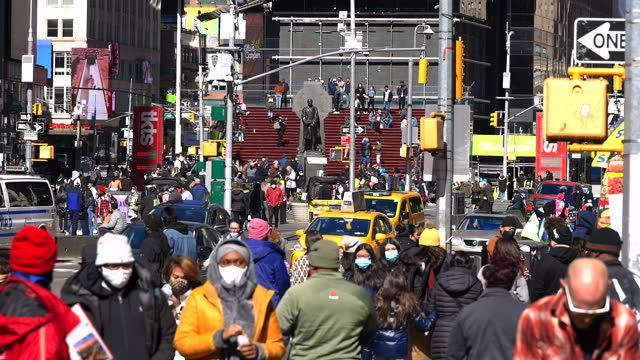 one year since the epidemic of coronavirus disease crisis in times square new york city. - road signal stock videos & royalty-free footage