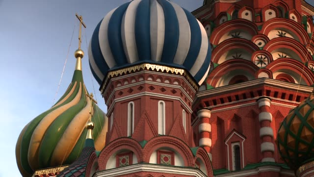 Onion domes define the architecture of St. Basil's Cathedral in Moscow's Red Square. Available in HD.