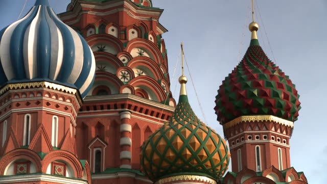 onion domes define the architecture of the st. basil's cathedral in moscow's red square. available in hd. - red square stock videos & royalty-free footage