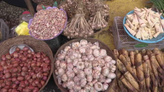 pan / onion, garlic and bamboo shoots on farmer market - bamboo shoot stock videos & royalty-free footage
