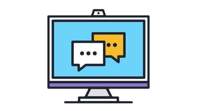 online conversation flat line icon animation with alpha - speech bubble stock videos & royalty-free footage