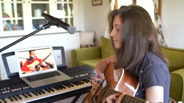 online guitar lessons at home - secondary school child stock videos & royalty-free footage