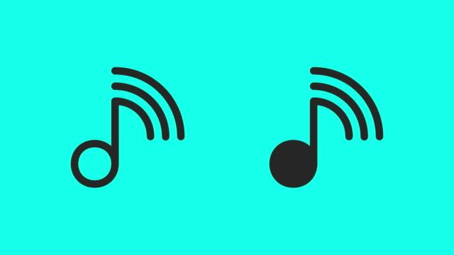 stockvideo's en b-roll-footage met online muziek icons - vector animatie - noot