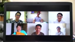 online video conference with asian chinese friends