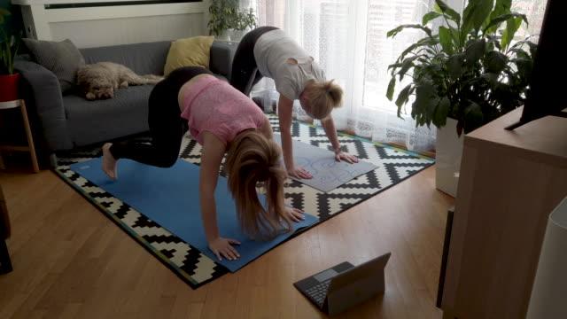 vídeos de stock, filmes e b-roll de aula online de yoga - atividade recreativa