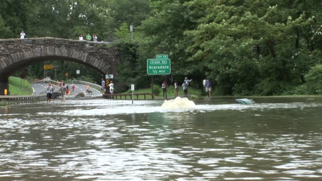 onlookers shoot photos of water bubbling up from parkway. zoom back to reveal area and more people shooting photos and watching flood waters bronx... - hurricane irene stock videos & royalty-free footage
