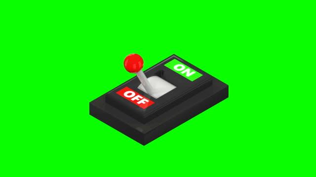 vidéos et rushes de écran vert on/off lever switch - pièce mécanique
