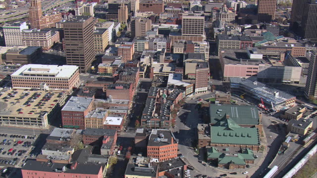 aerial onondaga county courthouse and surrounding downtown buildings / syracuse, new york, united states - syracuse stock videos & royalty-free footage