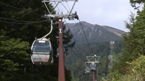 vídeos de stock, filmes e b-roll de ontake ropeway, nagano, japan - teleférico veículo terrestre comercial