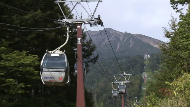 ontake ropeway, nagano, japan - overhead cable car stock videos and b-roll footage