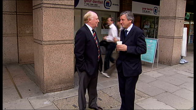 Oona King announces her London Mayor 2012 bid ENGLAND London Victoria EXT Ben Bradshaw MP stands chatting in street with others/ Lord Kinnock stands...