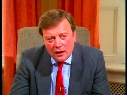 department of health ms health sec kenneth clarke david mellor seated at pkf ditto cms kenneth clarke mp intvwd sof rejects claims that some... - kenneth clarke stock-videos und b-roll-filmmaterial
