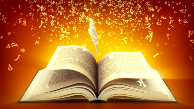 open book with letters flying off. brown version. - bible stock videos & royalty-free footage