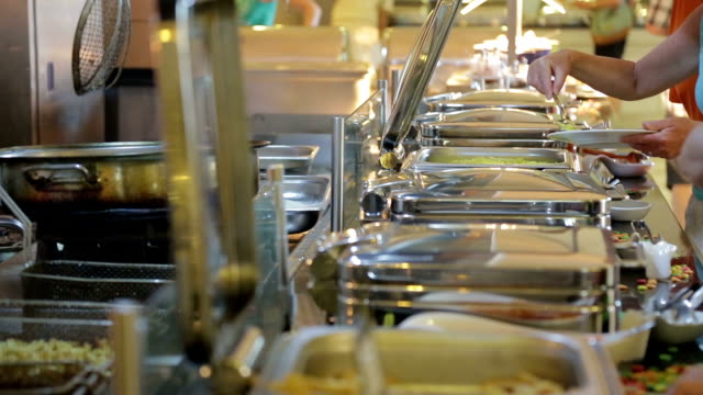 open buffet detail - commercial kitchen stock videos & royalty-free footage