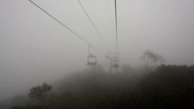 ws open cable sightseeing at rainy day - ski lift point of view stock videos & royalty-free footage