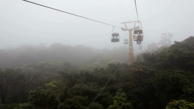 ws open cable sightseeing at rainy day - inquadratura dalla sciovia video stock e b–roll