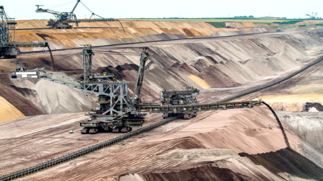 open cast brown coal mine - surface mine stock videos and b-roll footage