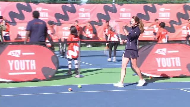 open champion emma raducanu plays with catherine, duchess of cambridge; england: london: roehampton: national tennis centre: ext catherine, duchess... - itv news at ten stock videos & royalty-free footage