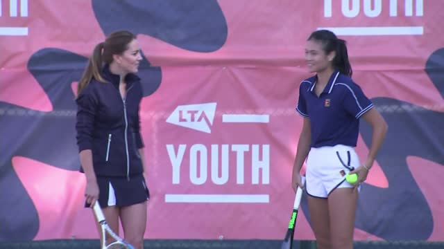 open champion emma raducanu plays with catherine, duchess of cambridge; england: london: roehampton: national tennis centre: ext various of... - itv news at ten stock videos & royalty-free footage