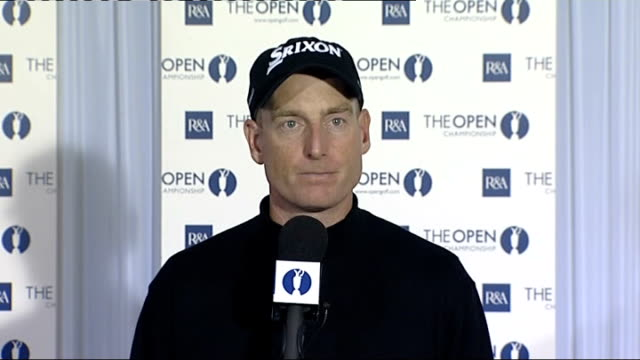 open championship 2008: interviews and press conferences; jim furyk press conference sot - conditions on a links course / practice, getting used to... - wind点の映像素材/bロール