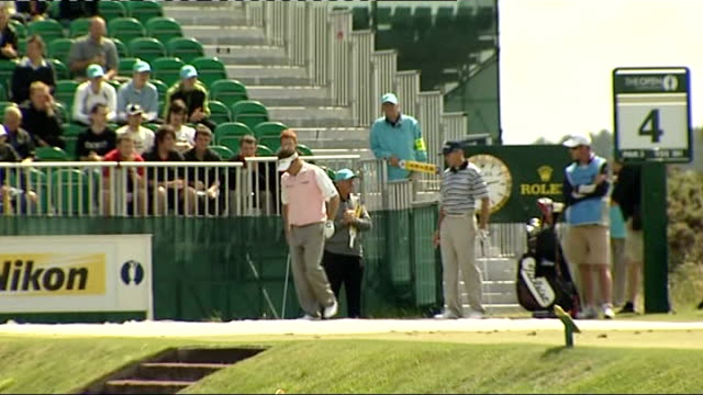 open championship 2008: lee westwood practice round; england: lancashire: royal birkdale: ext lee westwood on tee, hitting ball during practice round... - lancashire stock videos & royalty-free footage