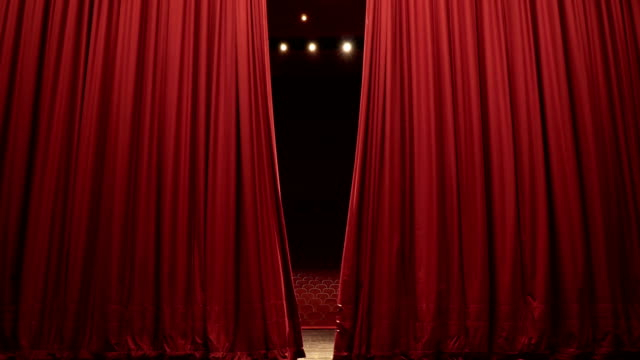 Open, Close Stage Curtain of Convention, Theatre Center