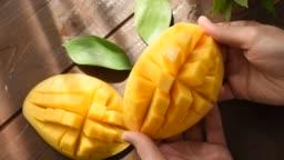 Open cut mango closeup view