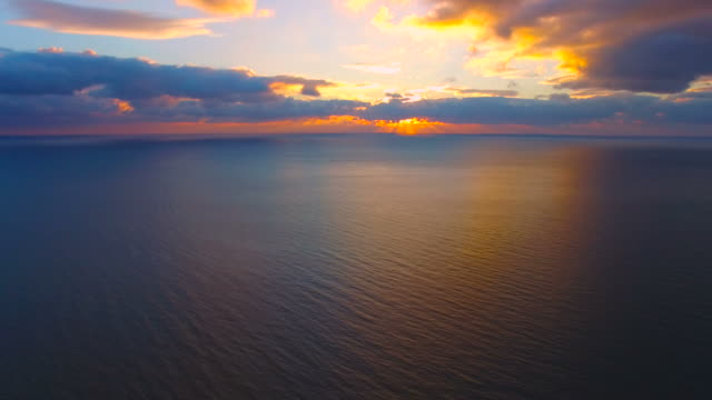 open expanse of the sea,  aerial video - sunrise dawn stock videos & royalty-free footage