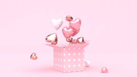 open gift box many heart shape drop 3d rendering digital motion - pink color stock videos & royalty-free footage