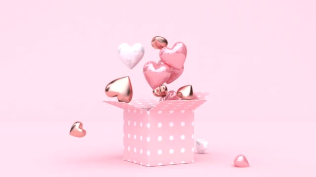 open gift box many heart shape drop 3d rendering digital motion