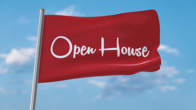 open house flag waving (luma matte included so you can put your own background) - banner sign stock videos & royalty-free footage